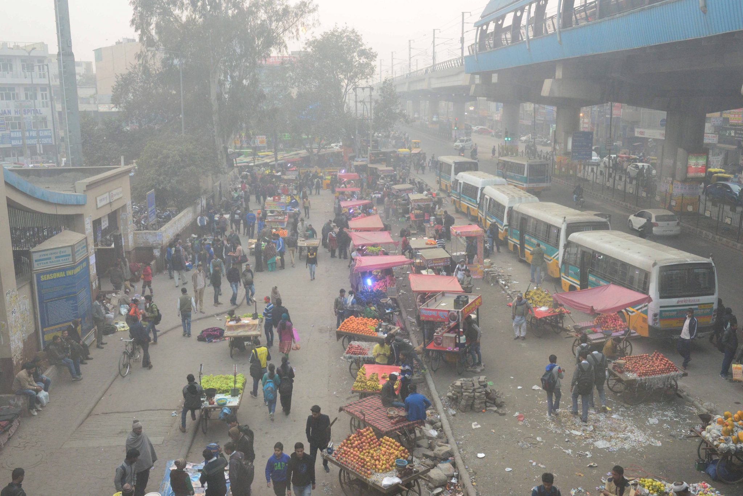 A polluted day at Janakpuri Metro Station, Delhi